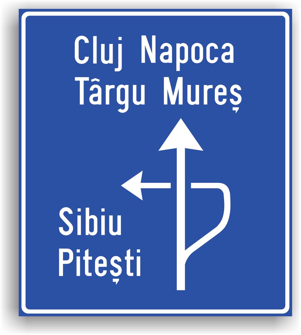 Presemnalizarea directiilor la o intersectie denivelata de drumuri