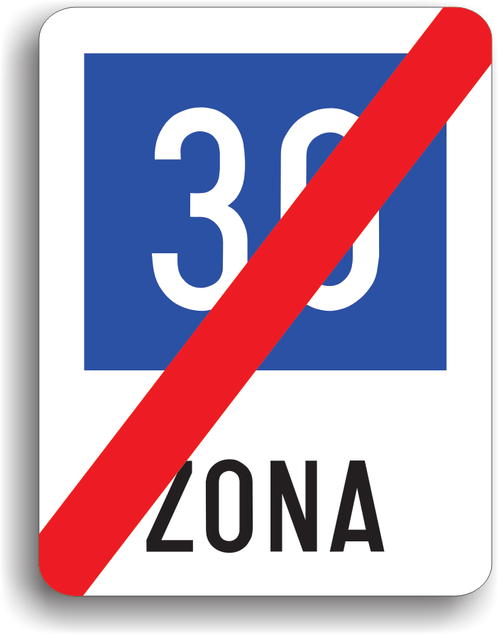 Sfarsitul zonei cu viteza recomandata 30 km/h