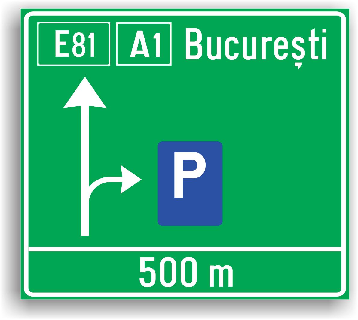 Presemnalizarea pe autostrada pentru parcare