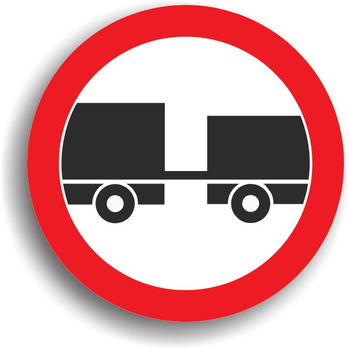 Accesul interzis autovehiculelor cu remorca, cu exceptia celor cu semiremorca sau cu remorca cu o osie