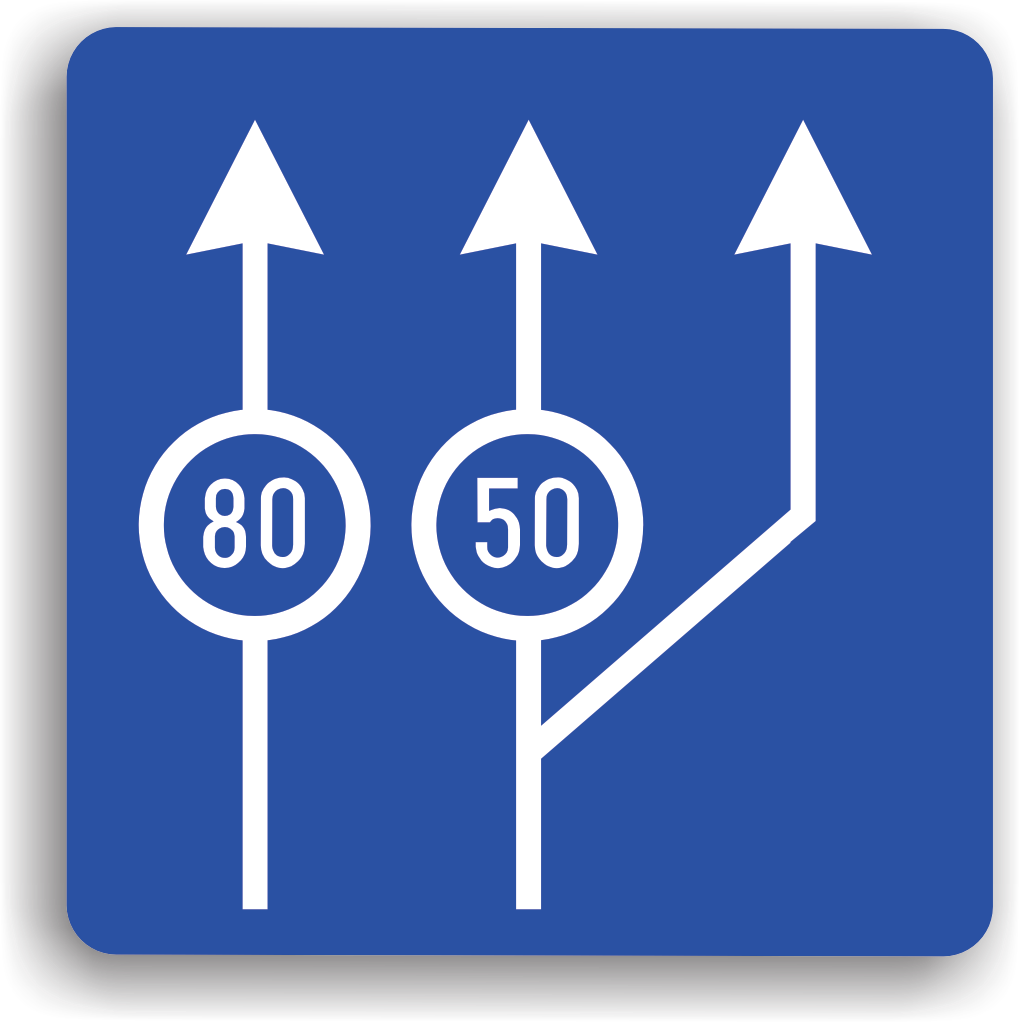Viteza minima obligatorie pentru diferite benzi de circulatie