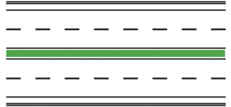 Marcaj pentru drumuri cu zona verde de separare a sensurilor de circulatie