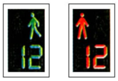 Semafor pentru pietoni combinat cu dispozitiv de cronometrare a timpului aferent culorii