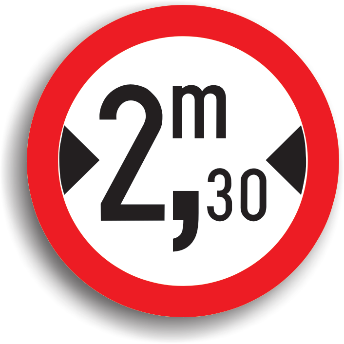 Accesul interzis vehiculelor cu latimea mai mare de ... m