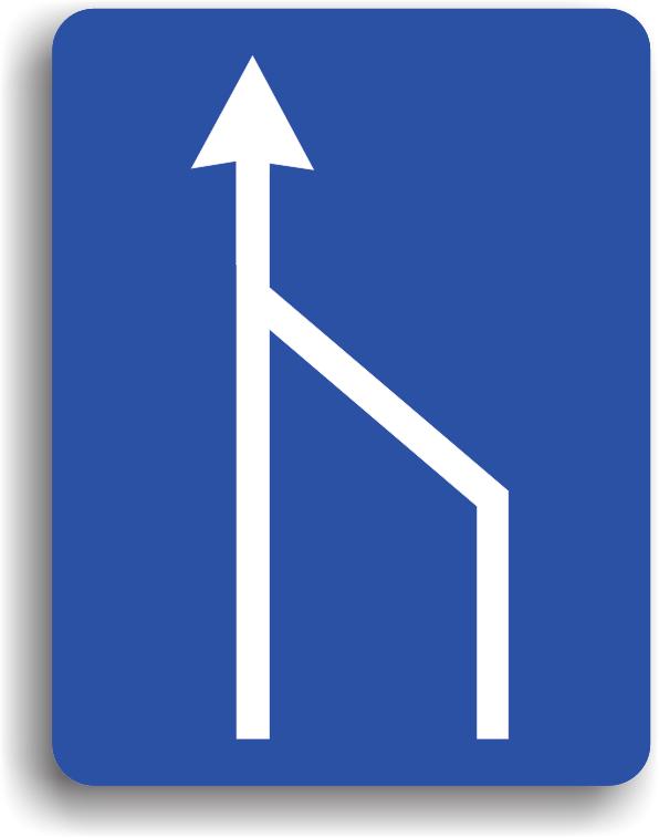 Terminarea benzii de circulatie din dreapta a partii carosabile