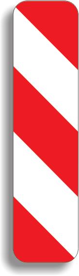 Baliza directionala care indica ocolirea obstacolului prin dreapta