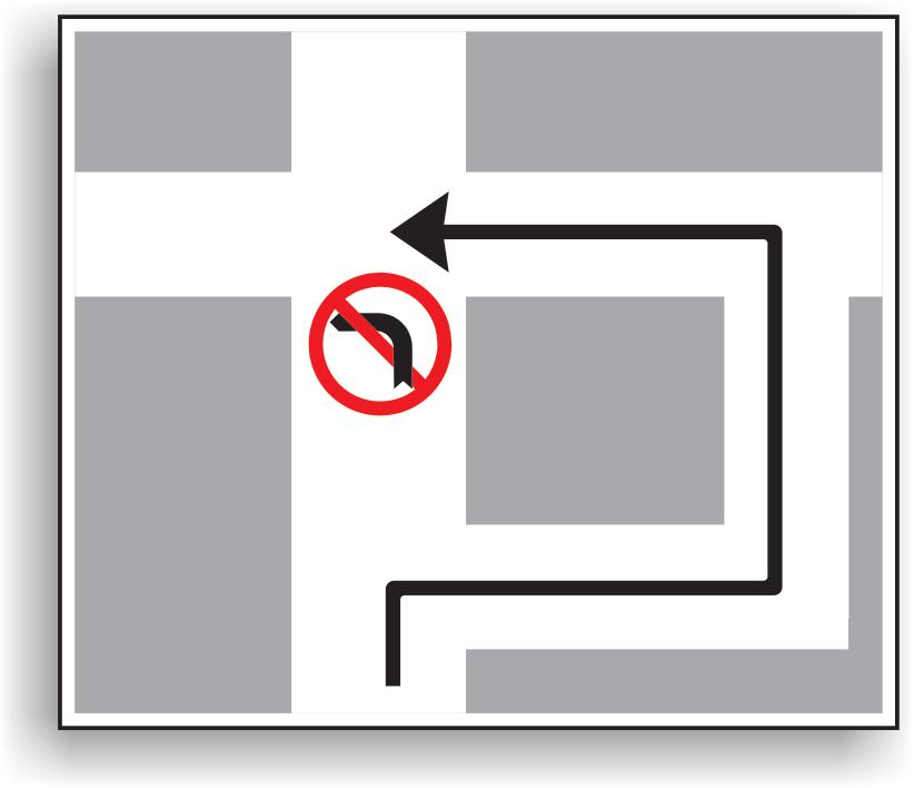 Presemnalizarea traseului de urmat in vederea efectuarii virajului la stanga